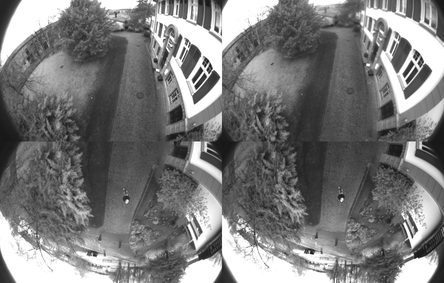 Four simultaneously triggered images of the fisheye cameras.