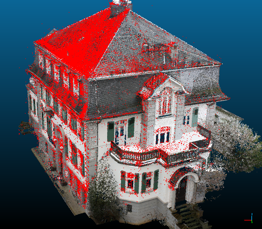 Point cloud from incremental bundle adjustment (red) and from terrestrial laser scan (textured).